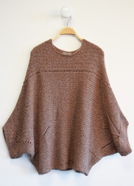 Iridescent knitted poncho