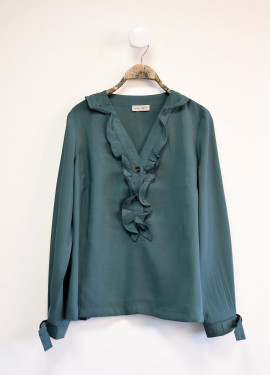 Ruffled neckline blouse