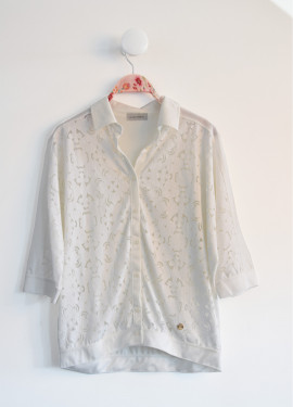 Openwork knit blouse