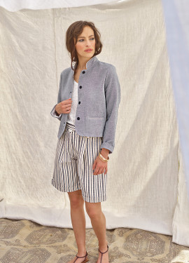 Lurex Striped Bermuda Shorts