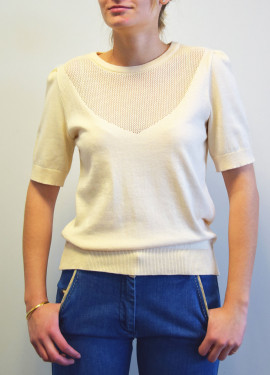 Openwork knit cut-out sweater