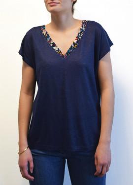 Tee-shirt col V bicolore