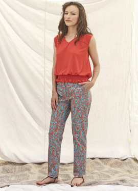 Pantalon à motif bicolore
